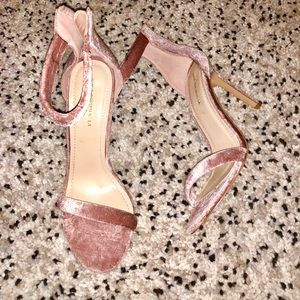 Velvet mauve ankle strap high heels